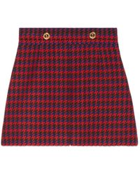 Gucci Houndstooth Wool Skirt - Red