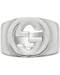 Gucci Interlocking G Ring In Silver - Metallic