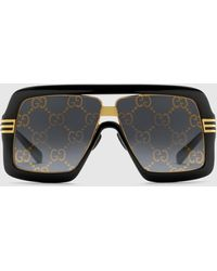 Gucci - 【公式】 (グッチ)GGレンズ スクエアフレーム サングラスブラック&グレーブラック - Lyst