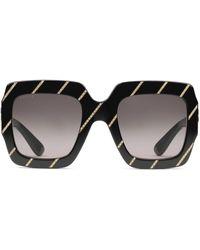 Gucci Crystal Striped Square Sunglasses - Black