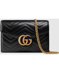 Gucci - 【公式】 (グッチ)〔GGマーモント〕キルティング ミニバッグ ブラック レザーブラック - Lyst