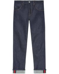 Gucci - Jeans aderente blu scuro con dettaglio Web - Lyst