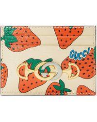 Gucci - グッチ〔グッチ ズゥミ〕 ストロベリー(いちご) プリント カードケース - Lyst