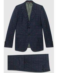 Gucci グッチ〔ニュー マルセイユ〕ビー(ハチ) チェックウール スーツ - ブルー