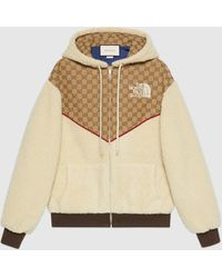 Gucci The North Face x Jacke aus GG Canvas/Shearling - Natur