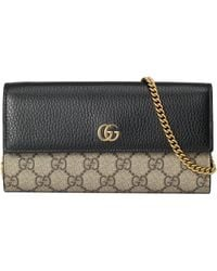 Gucci GG Marmont Chain Wallet - Natural