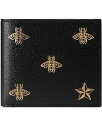 Gucci - Bee Star Leather Coin Wallet - Lyst
