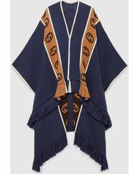 Gucci Poncho aus Wolle mit GG Streifen - Blau