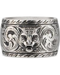 Gucci - Wide Silver Ring With Feline Head - Metallic