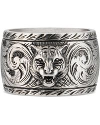 Gucci - Breiter Ring aus Silber mit Felinekopf - Lyst