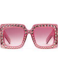 Gucci Oversize Square-frame Acetate Sunglasses - Pink