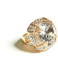 Guess - Gold-tone Rhinestone Cocktail Ring - Lyst