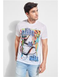 Guess - Alive At Night Collage Crew Tee - Lyst