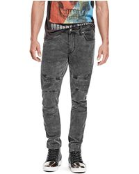 Guess - Skinny Pintucked Moto Jeans - Lyst