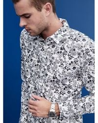Guess Luxe Stretch Floral-print Shirt - White