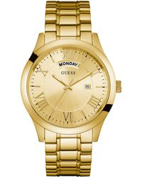 Guess - Gold-tone Classic Multifunction Watch - Lyst