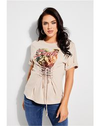 Guess - Beats Graphic Lace-up Tee - Lyst