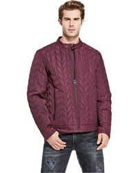 Guess - Keith Quilted Moto Jacket - Lyst