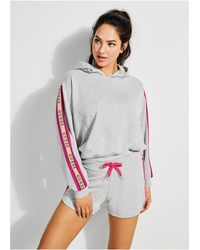 Guess Logo-trim French Terry Hoodie - Gray