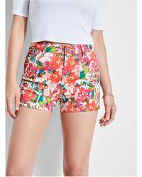 Guess - Claudia Floral High-rise Denim Shorts - Lyst
