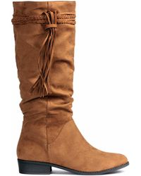 H&M Boots With A Braided Trim - Brown
