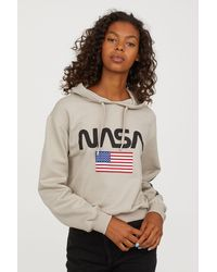 H&M - Printed Hooded Sweatshirt - Lyst