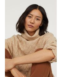 H&M - Cable-knit Turtleneck Sweater - Lyst