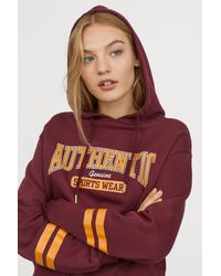 H&M - Printed Hooded Top - Lyst