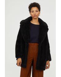 H&M - Short Faux Fur Coat - Lyst