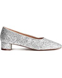 H&M Block-heeled Court Shoes - Metallic