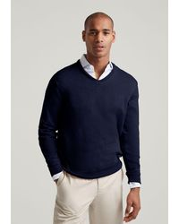 Hackett Cotton-cashmere V-neck Jumper - Blue