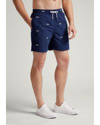 Hackett Embroidered Fish Swim Shorts - Blue