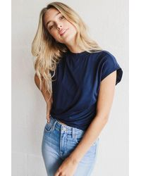 FRAME Double Shirred Muscle Top - Blue