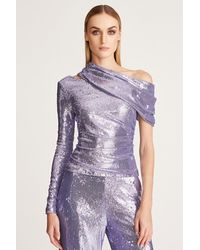 Halston Alexa Sequins Top - Purple