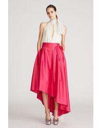 Halston Ames Duchess Satin Skirt - Pink