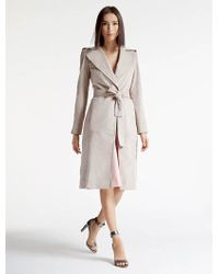 Halston Ultrasuede Trench Coat - Natural