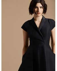 Halston Tuxedo Silk Faille Dress - Black