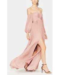 Halston Off Shoulder Pleated Gown - Pink
