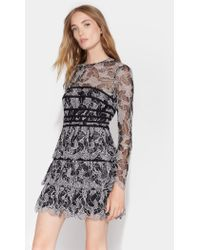 Halston Lace Dress With Strapping Detail - Black