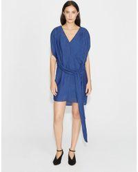 Halston - Flowy Satin Stripe Dress With Sash - Lyst