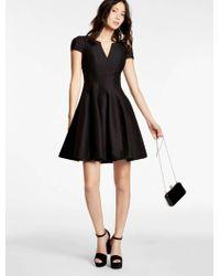 Halston Structured Faille Dress - Black