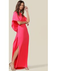 Halston Drape Back Cape Gown - Red