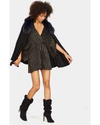 Halston - Cape Sweater With Fur Collar - Lyst