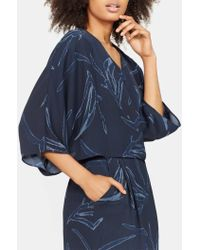 Halston - Printed Kimono Sleeve Faux Wrap Dress - Lyst