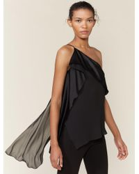 Halston - One Shoulder Satin Draped Top - Lyst