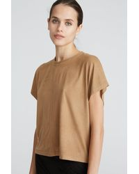 Halston Ariya Suede T-shirt - Natural