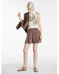 Halston - Ultrasuede Pleated Shorts - Lyst