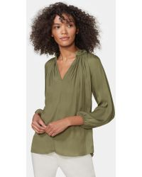 Halston Long Sleeve Ruched Neck Top - Green
