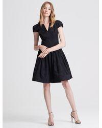 Halston Cap Sleeve Notch Neck Jacquard Dress - Black