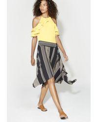 Halston Heritage | Printed Handkerchief Skirt With Slit | Lyst
